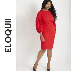 NWT ELOQUII PLUS SIZE Puff Sleeve Bodycon Dress 28